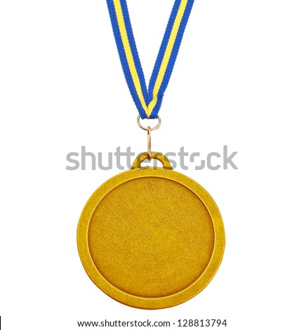 Gold medal for success in business. On a white background. - stock photo