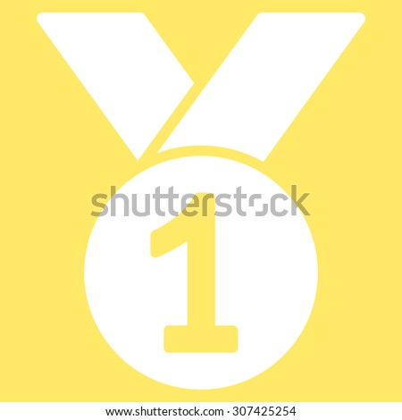 Gold medal icon. Glyph style is flat symbols, white color, rounded angles, yellow background.