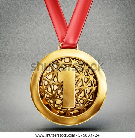 gold medal isolated on a grey backround - stock photo