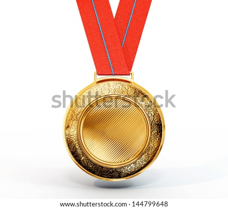 gold medal isolated on a white background - stock photo