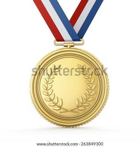 Gold medal isolated on white background