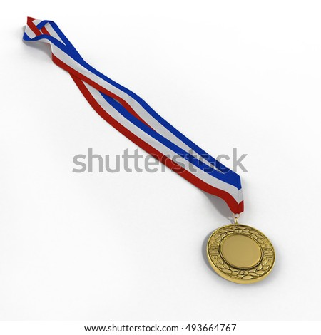 Gold medal isolated on white. 3D illustration
