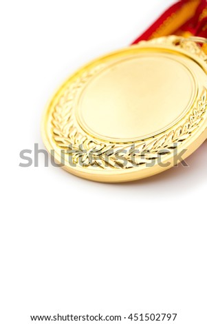 gold medal on a white background close up vertical