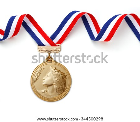 Gold medal on white background?