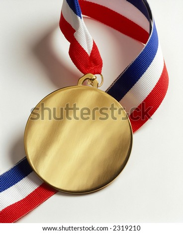 Gold Medal & Ribbon - stock photo
