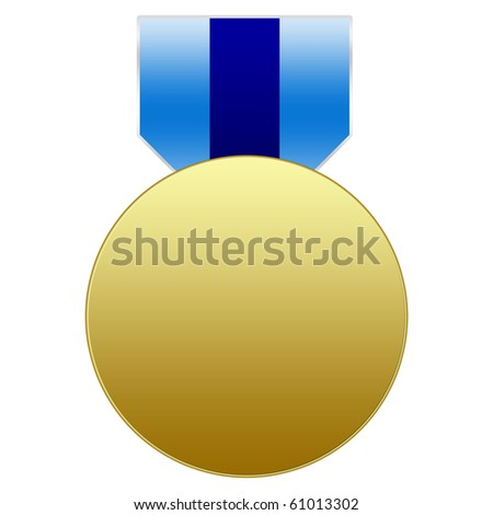 Gold Medal with blue ribbon - stock photo