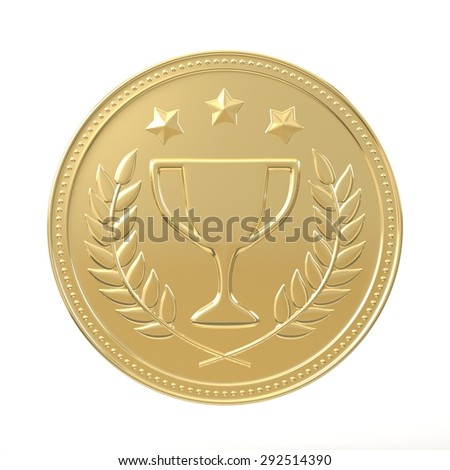 Gold medal with laurels , stars and cup. Round blank coin with ornaments. Victory, best product, service or employee, first place concept. Achievement in sports. Isolated on white background.