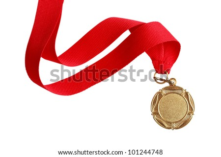 Gold medal with nice long red ribbon on white background. Isolated with clipping path - stock photo