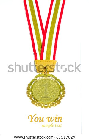 Gold medal with red and yellow ribbon - stock photo