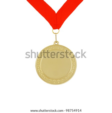 Gold medal with stars and red ribbon isolated on white