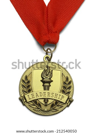 Gold Medal with Torch and Leadership Isolated on White Background. - stock photo