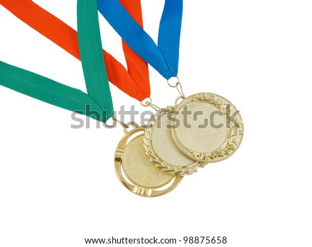 Gold medals isolated on white