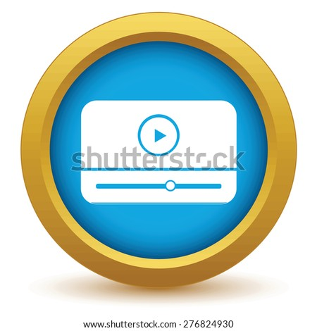 Gold media player icon on a white background - stock photo