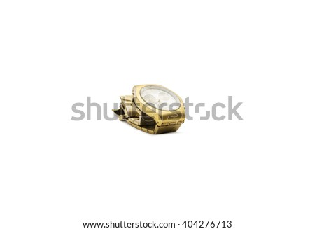 Gold men's watch on a white background isolation.