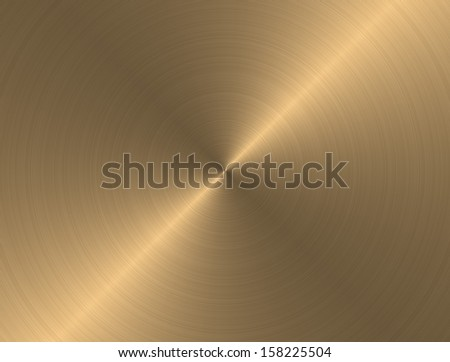 Gold metal background with realistic circular brushed texture - stock photo