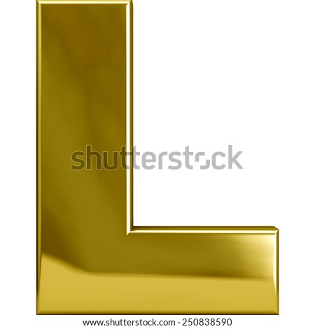 Gold metal L letter character isolated on white. Including clipping path. Part of complete alphabet set. - stock photo