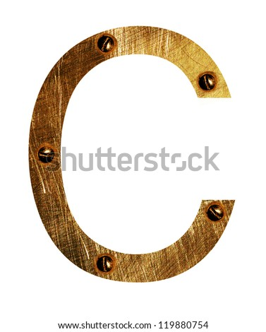 Gold metal Letter C  on a white isolated background