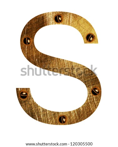 Gold metal Letter S  on a white isolated background