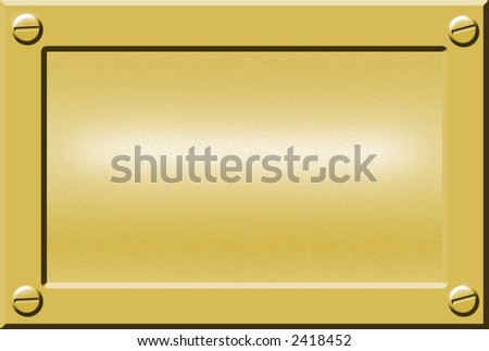 gold metal nameplate or doorplate background with bolts in corners