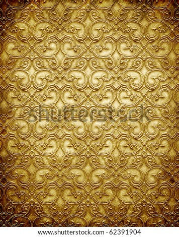 Gold metal pattern on paper backgrond (vintage collection) - stock photo