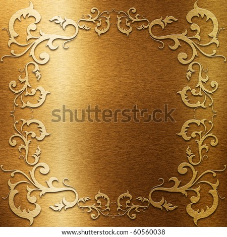 Gold metal plate with classic ornament (Very big collection) - stock photo