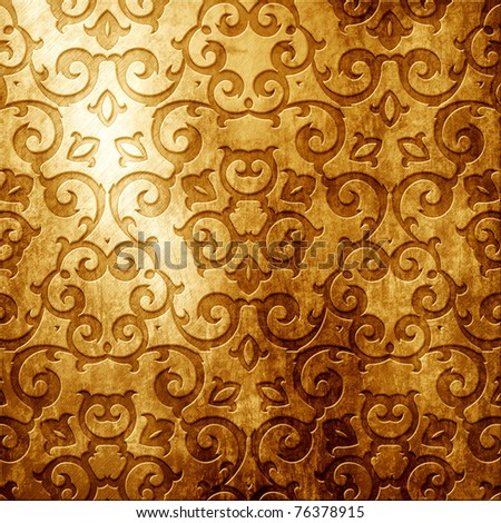 Gold metal plate with classic ornament (vintage collection) - stock photo