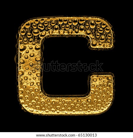 Gold metal three-dimensional alphabet symbol - letter C. Covered with drops of clear water on glossy metal. Isolated on black - stock photo