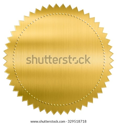 gold metallic foil seal label or sticker with clipping path included - stock photo