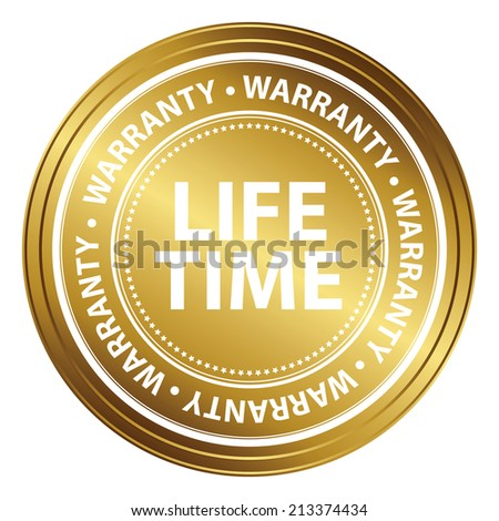 Gold Metallic Style Lifetime Warranty Icon, Badge, Label or Sticker for Product Warranty, Quality Control, Quality Assurance, Quality Management, CRM or Customer Satisfaction Concept Isolated on White - stock photo