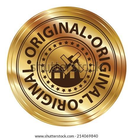Gold Metallic Style Original Icon, Label or Sticker Isolated on White Background  - stock photo