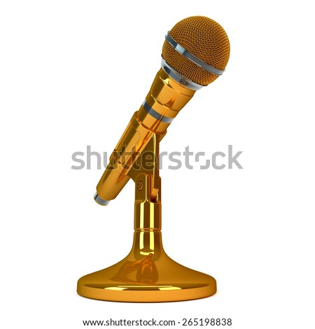 gold microphone - stock photo