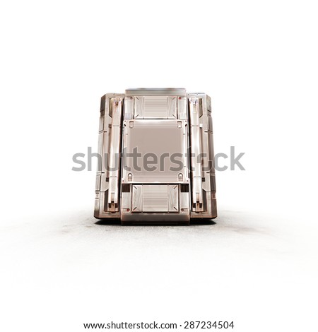 gold military rectangle sci fi box - stock photo