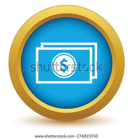 Gold money icon on a white background
