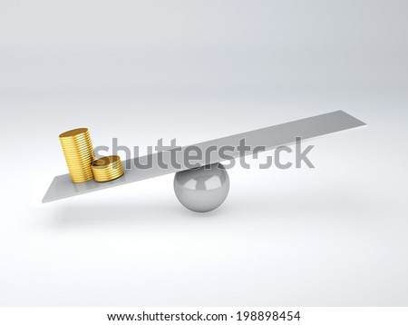 gold money in seesaw - stock photo