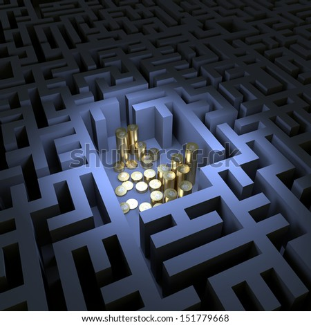 Gold money in the dark labyrinth  - stock photo