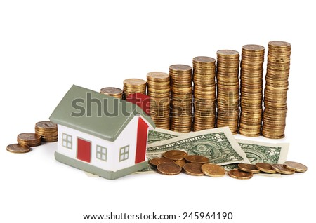 Gold money stack close up. Business concept. - stock photo