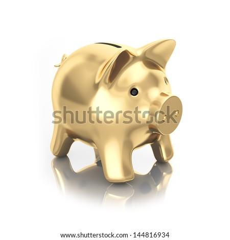 gold moneybox piggy - stock photo