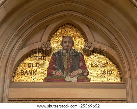gold mosaic of shakespeare displayed in stratford upon avon