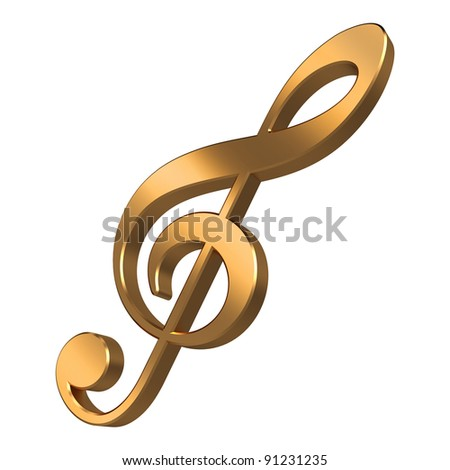 Gold music note isolated on white