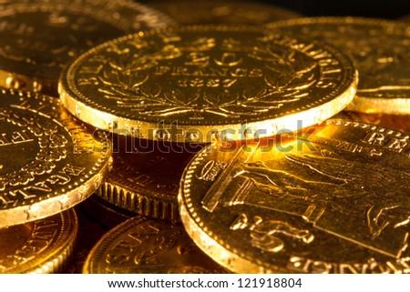 Gold Napoleon coins treasure - stock photo