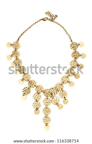 Gold necklace of round plates isolated on white background - stock photo