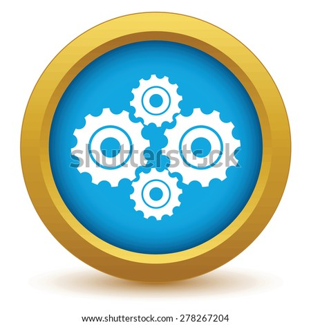 Gold new mechanism icon on a white background - stock photo