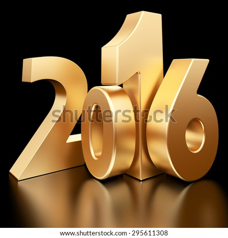 Gold 2016 new year 3d rendered image  - stock photo