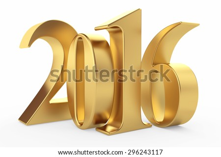 Gold 2016 new year 3d rendered image