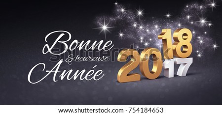 Gold 2018 new year date above stock illustration 754184653 gold 2018 new year date above 2017 and greetings in french language on a festive m4hsunfo