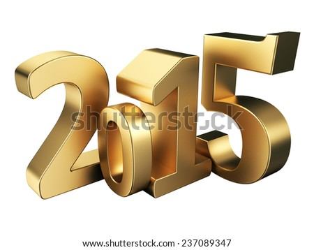 Gold 2015 new year on a white background. 3d rendered image