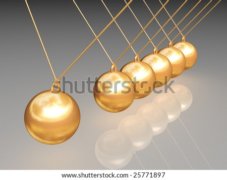Gold newton balls with reflection path included - stock photo