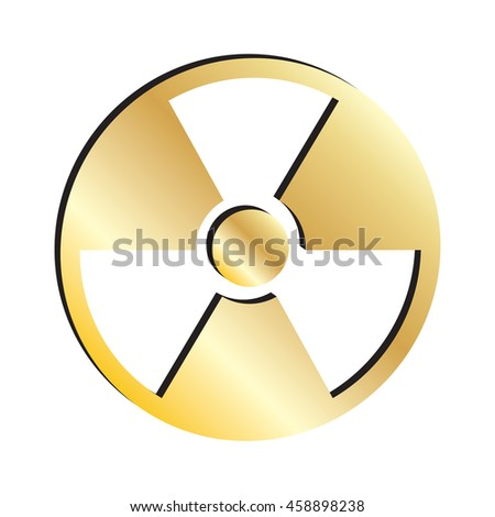 Gold Nuclear Symbol Icon.  Raster Version
