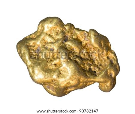 Gold nugget isolated on white. - stock photo