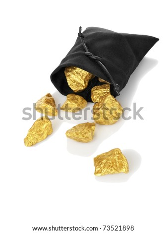 Gold nuggets in a bag, isolated on white - stock photo